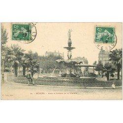 carte postale ancienne 34 BEZIERS. Place et Fontaine Citadelle 1909
