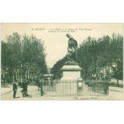 carte postale ancienne 34 BEZIERS. Statue Riquet et balance automatique 1928