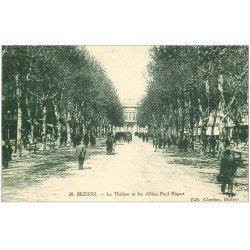 carte postale ancienne 34 BEZIERS. Théâtre Allées Riquet 1923