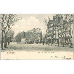 carte postale ancienne 34 BEZIERS. Théâtre Allées Riquet vers 1900