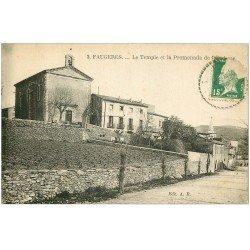 carte postale ancienne 34 FAUGERES. Temple et Promenade de l'Archose