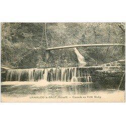 carte postale ancienne 34 LAMALOU-LE-HAUT. Cascade Petit Vichy cycliste sut Pont 1929