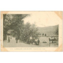 carte postale ancienne 34 LAMALOU-LES-BAINS. Passerelle Vernière vers 1900