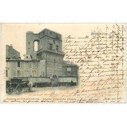 carte postale ancienne 34 MONTPELLIER. Ancien Télégraphe Chappe 1901 Hôtel Restaurant du Nord
