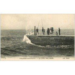 carte postale ancienne 34 PALAVAS-LES-FLOTS. Pêcheurs sur la Jetée
