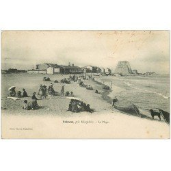 carte postale ancienne 34 PALAVAS-LES-FLOTS. Plage 1904. Timbre manquant