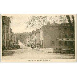 carte postale ancienne 34 SAINT-PONS. Hotel Belot Avenue de Castres 1929. Pompe à essence ancienne