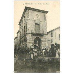 carte postale ancienne 34 SERIGNAN. Halles et Mairie