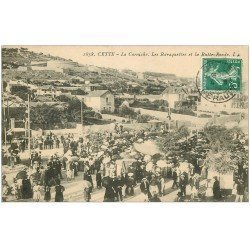 carte postale ancienne 34 SETE CETTE. Baraquettes Butte-Ronde sur Corniche 1909