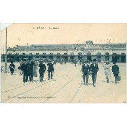 carte postale ancienne 34 SETE CETTE. La Gare 1934. Coin gauche biseauté...
