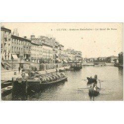 carte postale ancienne 34 SETE CETTE. Péniches Quai de Bosc. Grand Hôtel de Paris