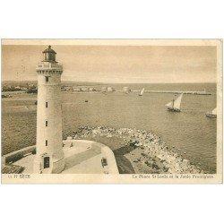 carte postale ancienne 34 SETE CETTE. Phare Saint-Louis Jetée Frontignan 1948
