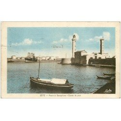 carte postale ancienne 34 SETE CETTE. Phare Sémaphore Port 1941