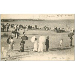 carte postale ancienne 34 SETE CETTE. Plage 1915