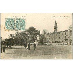 carte postale ancienne 46 CAHORS. Statue et Lycée 1904