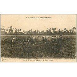 carte postale ancienne 03 BOURBONNAIS. Le Labourage travaux des Champs
