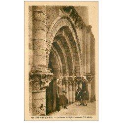 carte postale ancienne 17 ARS en RE. Le Porche de l'Eglise romane 1949