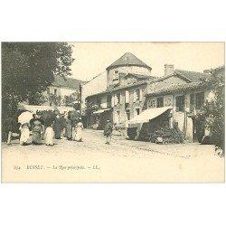 carte postale ancienne 03 BUSSET. La Rue Principale. Café de la Poste