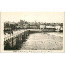 carte postale ancienne 17 CHABANAIS. Le Pont, les Ecoles et Quartier Saint-Pierre