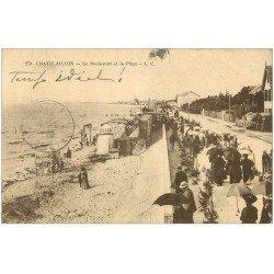carte postale ancienne 17 CHATELAILLON. Boulevard et Plage 1921