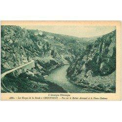 carte postale ancienne 03 CHOUVIGNY. Château et rocher Armand Gorges de la Sioule