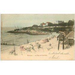 carte postale ancienne 17 ROYAN. La Plage de Foncillon vers 1903 en couleur...