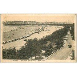 carte postale ancienne 17 ROYAN. La Plage prise du Family Hôtel et Train Tramway 1927