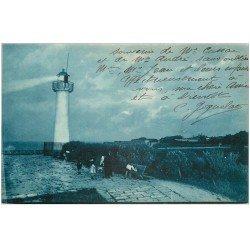 carte postale ancienne 17 SAINT-MARTIN-DE-RE. La Barbette au Clair de Lune 1926. Le Phare