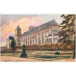 """carte postale ancienne 18 BOURGES. Cathédrale Jardin Hôtel de Ville. Edition """""""" Tuck """""""""""