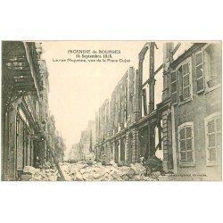 carte postale ancienne 18 BOURGES. Incendie 1928. Rue Moyenne de la Place Cujas