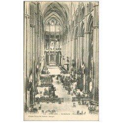 carte postale ancienne 18 BOURGES. La Cathédrale l'intérieur Grande Nef 1919