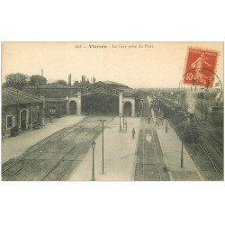 carte postale ancienne 18 VIERZON. La Gare et Train Locomotive à vapeur 1918