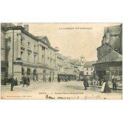 carte postale ancienne 19 BRIVE. Grande Place et Hôtel de Ville 1903