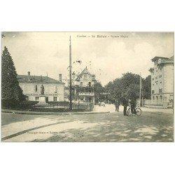carte postale ancienne 19 BRIVE. Square Majou tampon Militaire 1915. Cycliste Livreur de télégrammes
