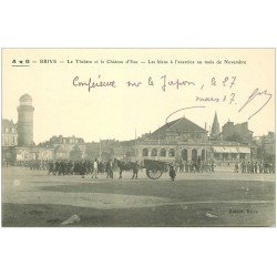 carte postale ancienne 19 BRIVE. Théâtre et Château d'Eau 1917. Les Bleus à l'exercice