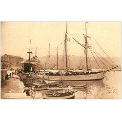carte postale ancienne 20 AJACCIO. Quai Napoléon. Yacht et Paquebot