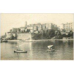 carte postale ancienne 20 BASTIA. Vieille Ville et Citadelle avec Pêcheurs. Carte Photo de luxe LL n°75