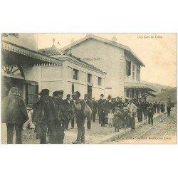 carte postale ancienne 20 CORSE. Ponte-Leccia. Une Gare 1904