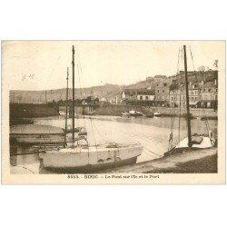 carte postale ancienne 22 BINIC. Pont sur l'ic et le Port 1935