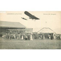 carte postale ancienne 01 Ambérieu Aviation. Avion devant les Hangars