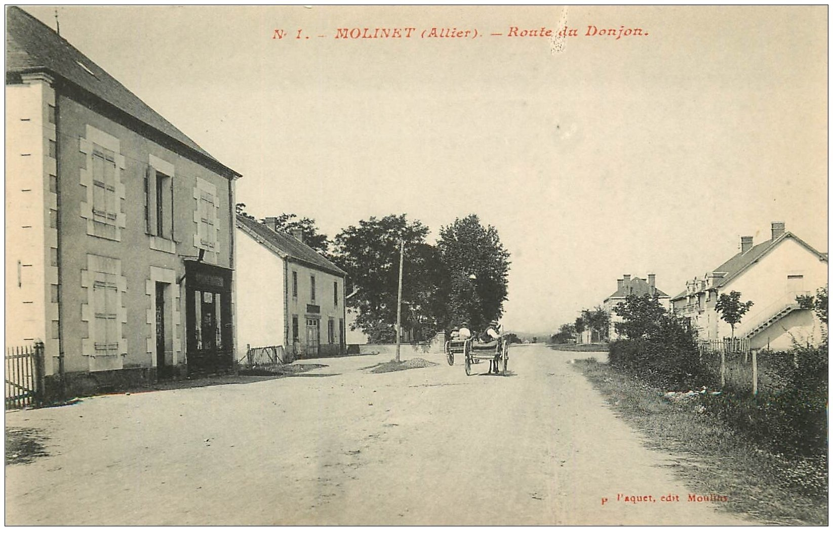 carte postale ancienne 03 MOLINET. Route du Donjon
