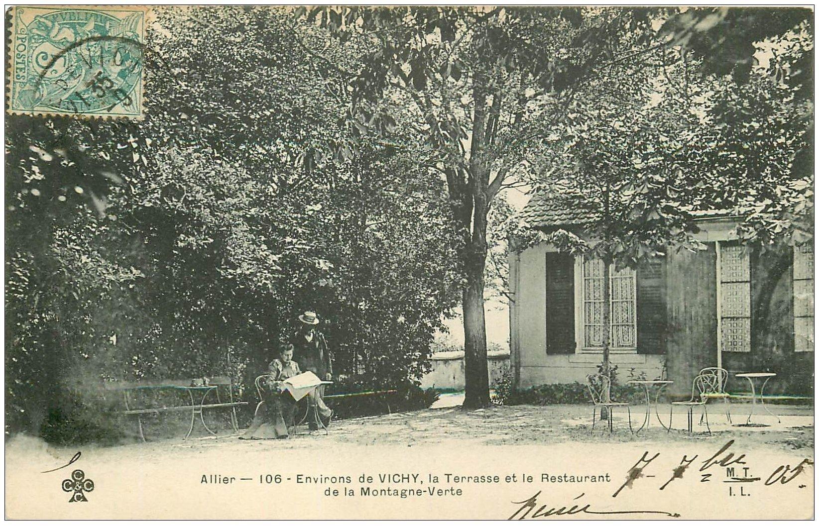 carte postale ancienne 03 MONTAGNE-VERTE. Terrasse et Restaurant 1909