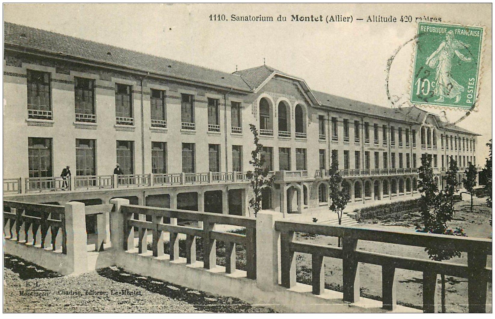 carte postale ancienne 03 MONTET. Le Sanatorium 1922