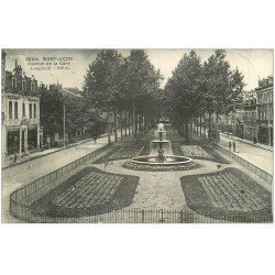 carte postale ancienne 03 MONTLUCON. Avenue de la Gare. timbres Taxe 1916