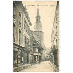 carte postale ancienne 22 DINAN. Rue et Tour de l'Horloge avec Tabac et Epicerie. Edition Passemard