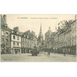 carte postale ancienne 22 GUINGAMP. Le Haut de la Place du Centre Fontaine 1918