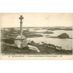 carte postale ancienne 22 ILE DE BREHAT. La Croix de Saint-Michel et les Ilots de Kerpont