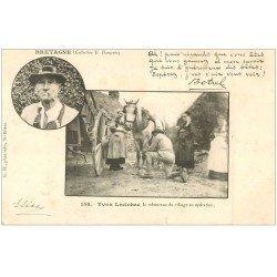 22 LA BRETAGNE. Leclohec le rebouteux du Village. Rare carte pionnière vierge avec timbre 1 centime vers 1900