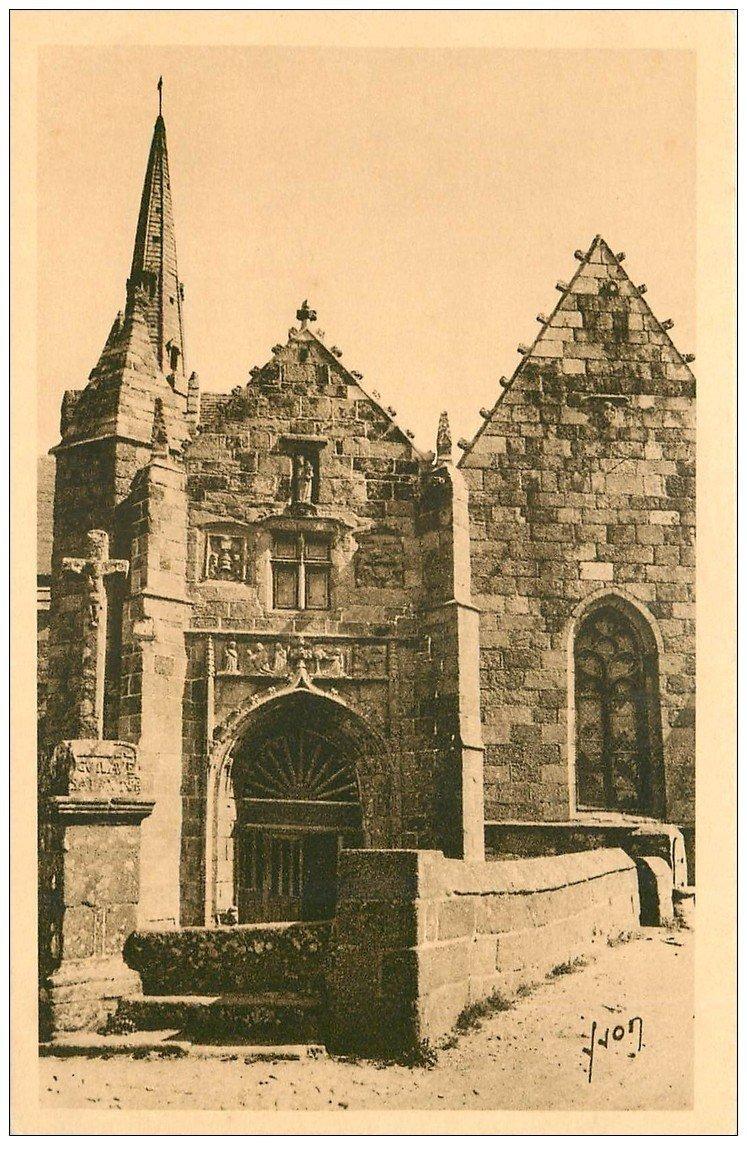 carte postale ancienne 22 PERROS-GUIREC. Eglise de la Clarté Portail