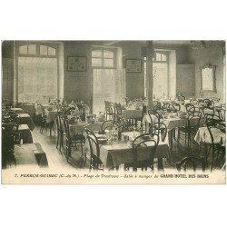 carte postale ancienne 22 PERROS-GUIREC. Grand Hôtel des Bains Salle à manger Plage de Trestraou 1930